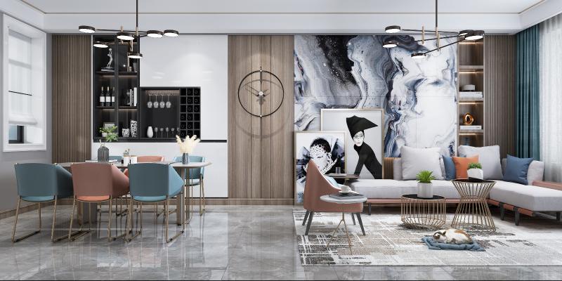 现代风格客厅,餐厅3D模型【ID:543735074】