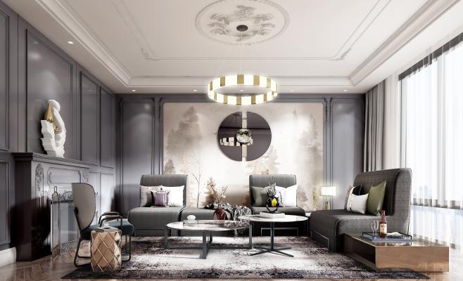 美式客厅布艺组合沙发3D模型【ID:545527019】