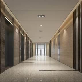 现代轻奢电梯厅3D模型【ID:948392585】