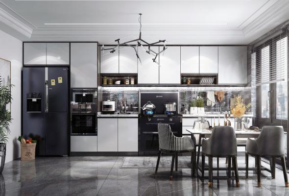 現代風格廚房餐廳3D模型【ID:543424385】