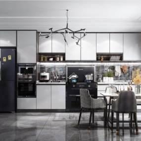 现代风格厨房餐厅3D模型【ID:543424385】