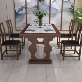 新中式餐桌椅组合3D模型【ID:848750885】