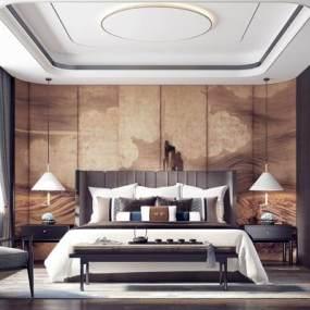 新中式卧室3D模型【ID:545533284】