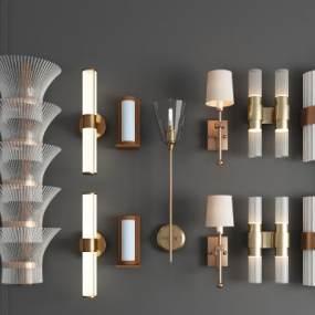 现代轻奢金属壁灯玻璃壁灯水晶壁灯多头壁灯组合3D模型【ID:742303960】
