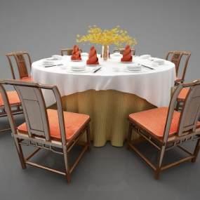 新中式风格餐桌3D模型【ID:844588877】