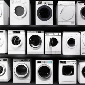 现代洗衣机滚筒烘干机家电3D模型【ID:230681673】