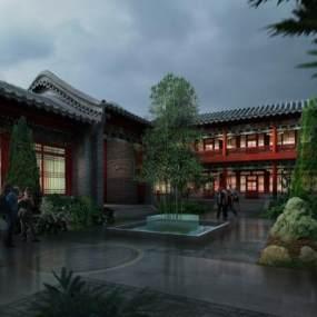 中式庭院住宅3D模型【ID:133475731】