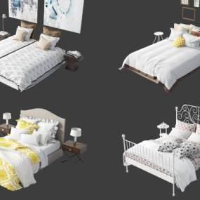 現代床具組合3D模型【ID:851223795】