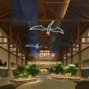 新中式展览馆大厅3D模型【ID:934482738】