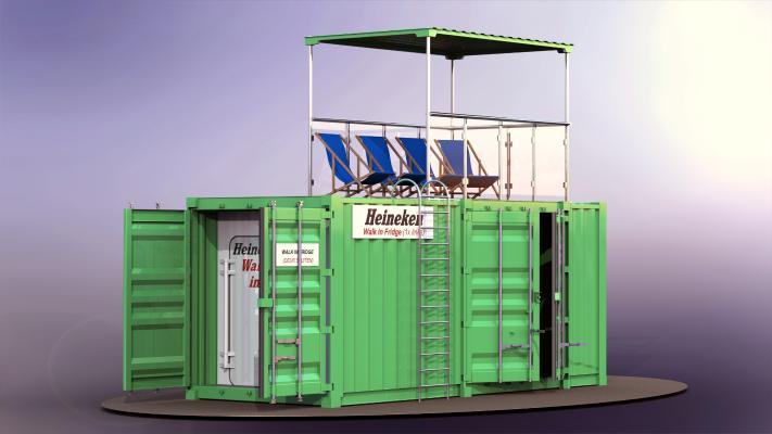 现代集装箱海景房3D模型【ID:241497174】