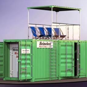 現代集裝箱海景房 3D模型【ID:241497174】
