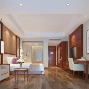 现代酒店客房3D模型【ID:734743380】