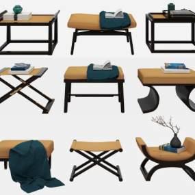 新中式矮凳凳子组合3D模型【ID:732982611】