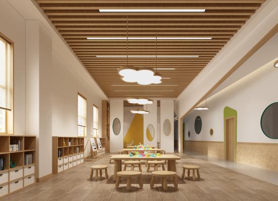 北欧幼儿园美术室 洽谈室 过道