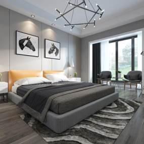 现代主卧卧室3D模型【ID:532143047】