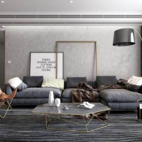 现代沙发茶几休闲椅边几落地灯挂画组合3D模型【ID:531991030】