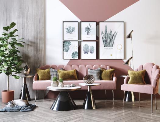 現代網紅粉色客廳3D模型【ID:652230726】