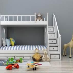 地中海儿童上下床上下铺3D模型【ID:830537897】