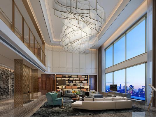 新中式酒店大堂3D模型【ID:752598040】