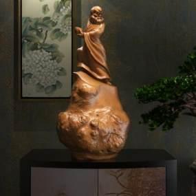 达摩祖师捧钵雕像陈设艺术摆件3D模型【ID:331352194】