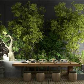 新中式茶桌椅 3D模型【ID:840595941】