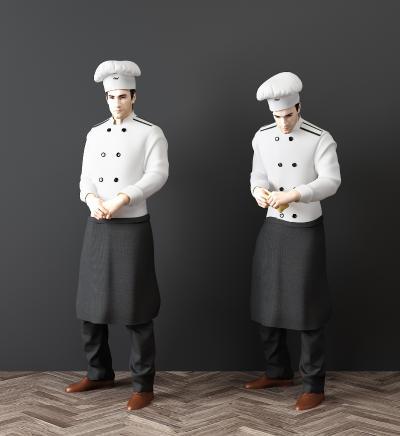 现代厨师人物模型3D模型【ID:342153002】