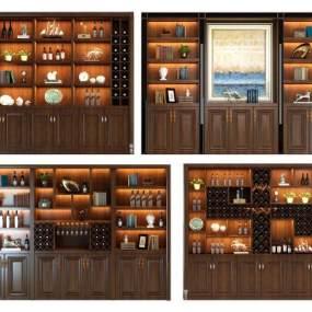 欧式简约酒柜 3D模型【ID:641428202】