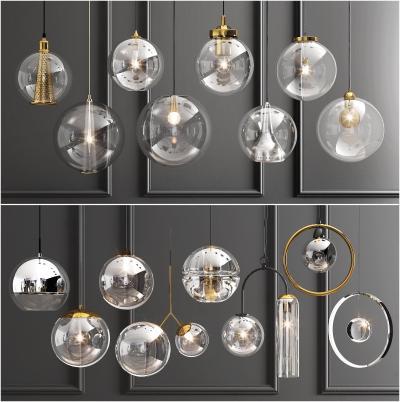 现代玻璃单头吊灯组合