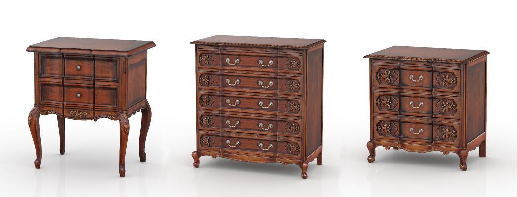 欧式古典边柜 床头柜组合