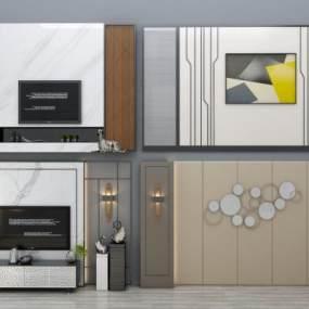現代電視背景墻沙發背景墻電視柜組合3D模型【ID:230499765】