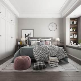 北欧卧室3D模型【ID:538275218】