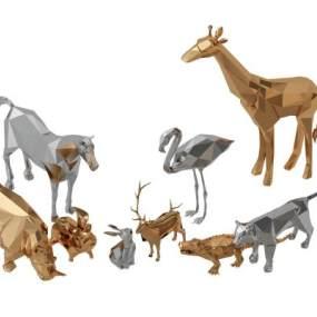 抽象河马鳄鱼鹿马动物雕塑摆件 3D模型【ID:241752553】