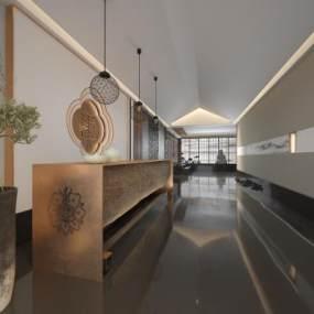 新中式酒店前台3D模型【ID:748451054】