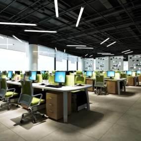 现代工业风办公室3D模型【ID:947342072】