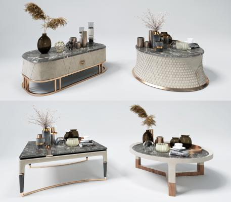 现代轻奢茶几饰品摆设摆件3D模型【ID:650543886】