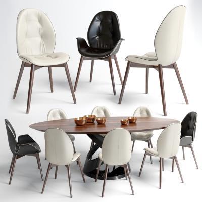 現代橢圓餐桌椅組合國外3D模型【ID:832304829】