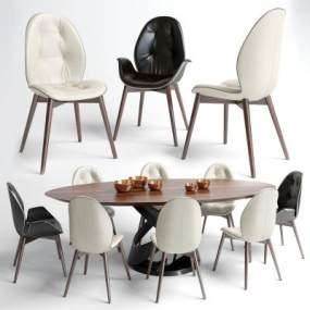 现代椭圆餐桌椅组合】