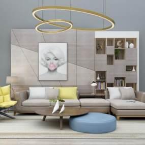 现代布艺沙发茶几装饰柜背景墙吊灯组合3D模型【ID:631979714】