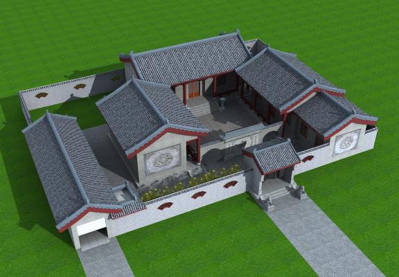 中式四合院,影壁墻,圍墻,獅子,落地燈,院子,瓦3D模型【ID:130499740】