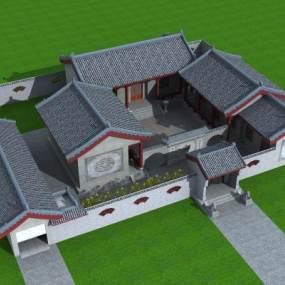 中式四合院,影壁墙,围墙,狮子,落地灯,院子,瓦3D模型【ID:130499740】