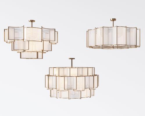 新中式金属吸顶灯吊灯组合3D模型【ID:832129458】