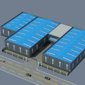 现代工厂鸟瞰图3D模型【ID:253431020】