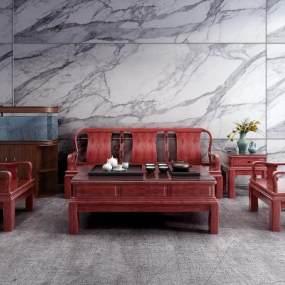 新中式沙发茶几组合3D模型【ID:635412796】