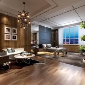 新中式酒店客房3D模型【ID:753373306】