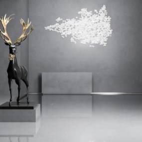 现代雕塑摆件3D模型【ID:353499107】