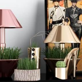 現代植物臺燈組合3D模型【ID:846725171】
