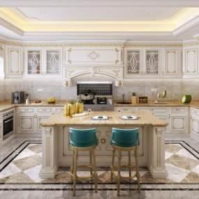 法式厨房3D模型【ID:546434377】
