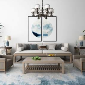 新中式沙发茶几装饰画吊灯地毯组合3D快三追号倍投计划表【ID:634268750】
