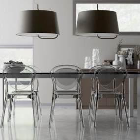 現代餐桌椅組合吊燈3D模型【ID:842965868】