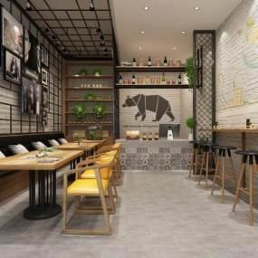北欧休闲餐厅 3D模型【ID:641279272】